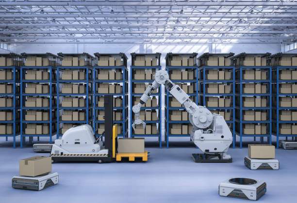 robot lifting boxes in warehouse