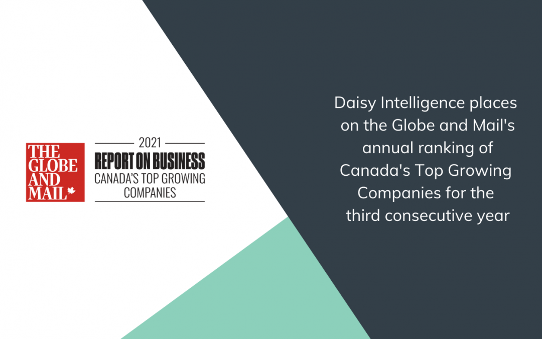 Daisy Intelligence Places on the Globe and Mail's Annual Ranking of Canada's Top Growing Companies for the Third Consecutive Year